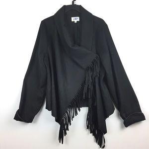 Fringe Sweater Jacket Asymmetrical Black Boho